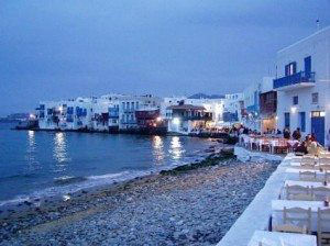 Mykonos seaside at sunset www.njcharters.com