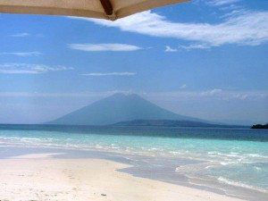 From the beach in the Adonara Lembata island area, smoldering volcano