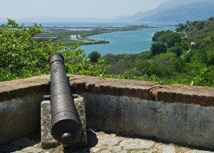 Old cannon at Butrint fortress in Albania.