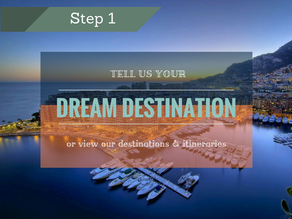 Step 1: Tell us your dream destination or view our destinations & itineraries