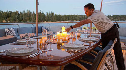 Yacht-Crew-Prepares-Dining-on-Yacht-Charter-www.njcharters.com_